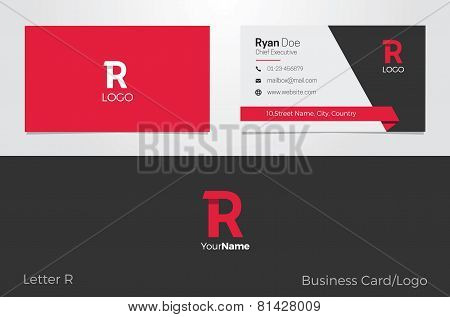 R Letter Logo Corporate Business card
