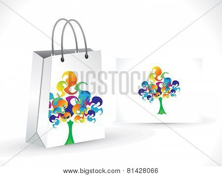 Abstract Artistic Colorful  Tree Shopping Bag