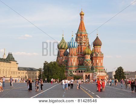 Basil's Cathedral And Walking People