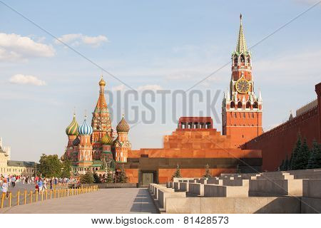 St. Basil's Cathedral, Lenin's Mausoleum, Spasskaya Tower And Walking People