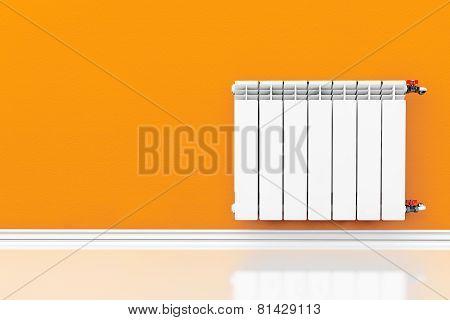Modern Heating Radiator With Orange Wall