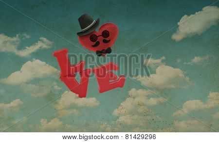 Air Balloon Man Character On Sky, Vintage Style