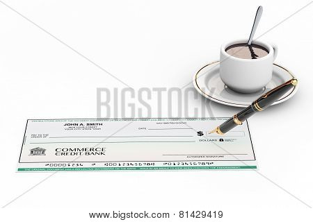 Blank Banking Check And Fountain Pen