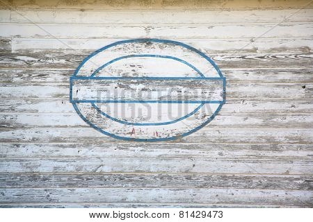 Blank sign on shed side