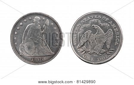 Two Sides Of Old Silver Dollar Of The Usa