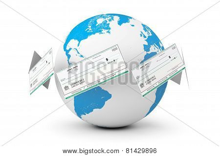 Banking Checks Around Earth Globe