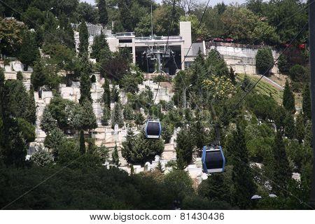 Aerial view of cabins in Istambul - Teleférico de Estambul