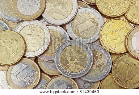 Pile of 50 cents, 1 and 2  euro coins