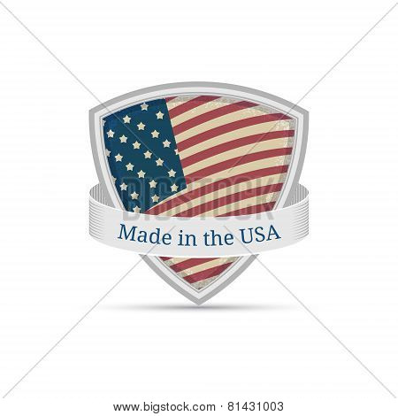 Made in the USA, America flag label on the shield