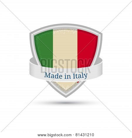 Made in Italy, Italy flag label on the shield