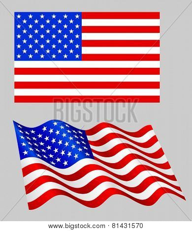 American flag set on grey.
