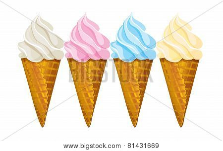 Ice cream waffle cone, four different colors