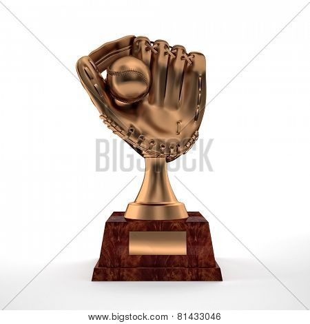 brass baseball glove trophy on white