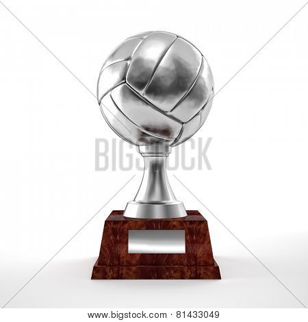 silver volley trophy ball on white