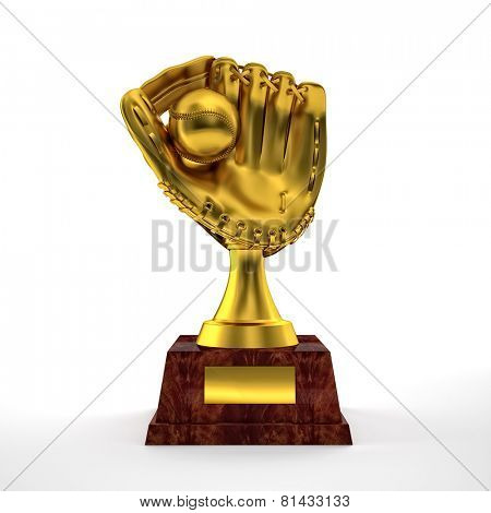 golden baseball glove trophy on white