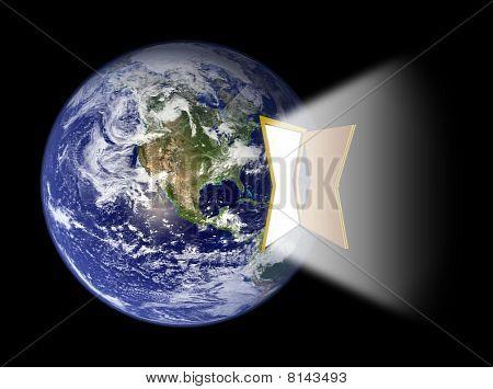 Earth's Western Hemisphere With Door Portal