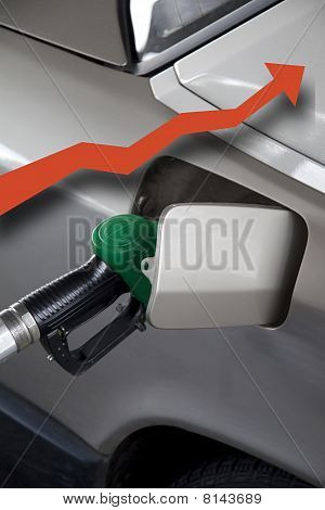 Gas pump with red arrow