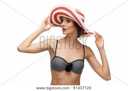 Caucasian woman wearing swimsuit. Pin up style