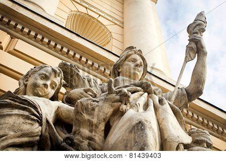 Urban Baroque sculptures on the walls