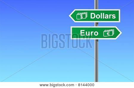 Arrows dollars euro on sky background.