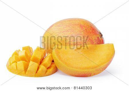 mango fruit sliced isolated on white