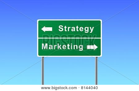 Sign strategy marketing on sky background.