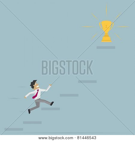 businessman run on stairs to goal Vector illustration
