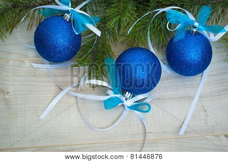 Blue Balls With Ribbon