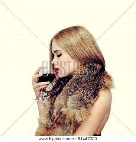 Elegant Sensual Woman Enjoy The Taste Of Wine