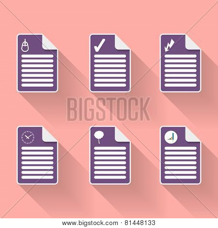 Set Of Six Document Icon
