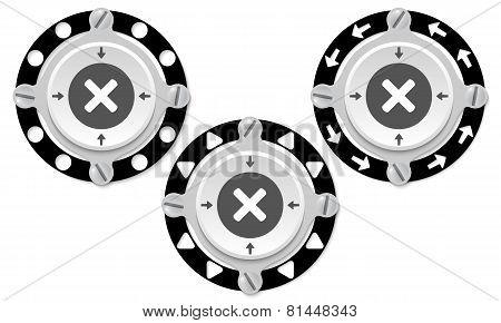 Set Of Three Icons And Multiplication Symbol