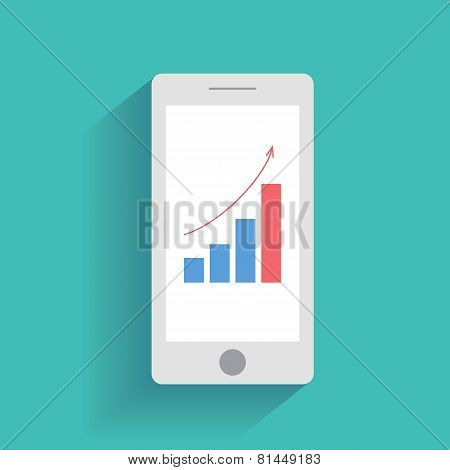 Smartphone with increasing bar chart on the screen