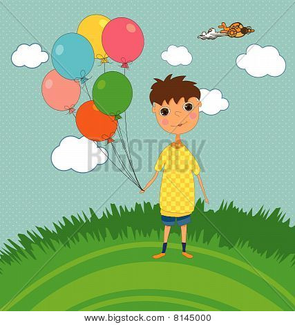 Boy Outdoors with Balloons