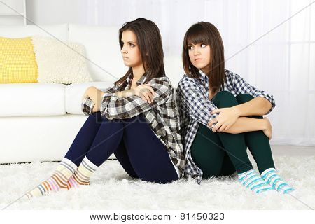 Beautiful girls twins quarreled