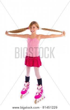 blond pigtails roller skate girl full length on white background