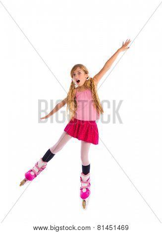 blond pigtails roller skate girl full length dancing balance on white background