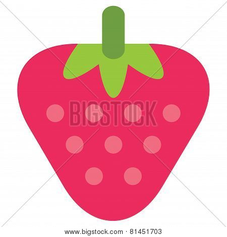 Cartoon Vector Simple Juicy Pink Strawberry Isolated In White Background