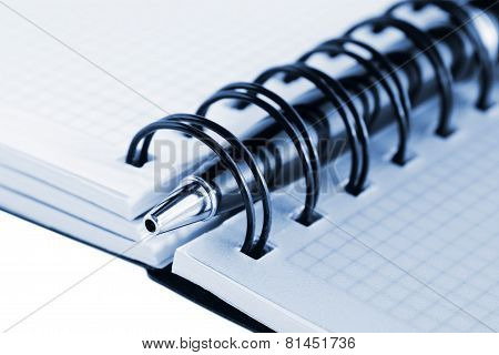 Open Notebook And Pen, With Blue Tint