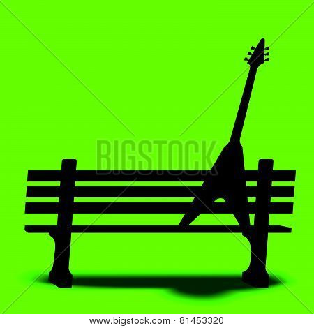 Guitar park bench music background