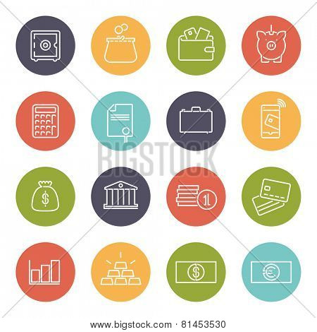 Money and Finance Line Icons Collection. Set of 16 money and finance related line icons in colored circles
