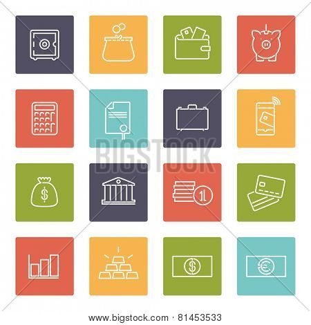 Money and Finance Line Icons Collection. Set of 16 money and finance related line icons in colored squares
