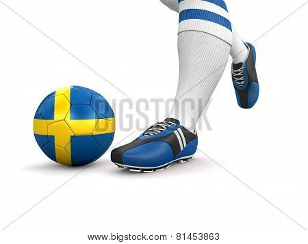 Man and soccer ball  with Swedish flag (clipping path included)