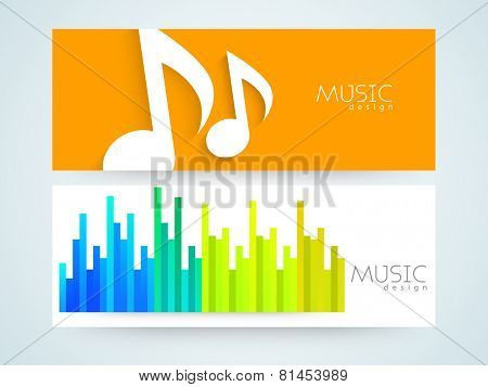 Musical website banner or header set with musical sign and volume equalizer.