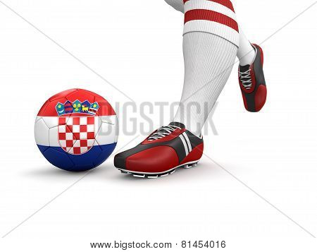 Man and soccer ball  with Croatian flag (clipping path included)