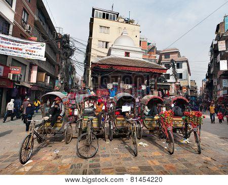 Rickshaw In Kathmandu City In Nepal