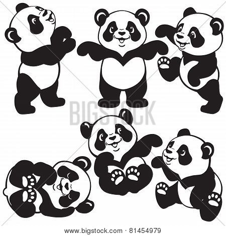 black and white set with cartoon panda