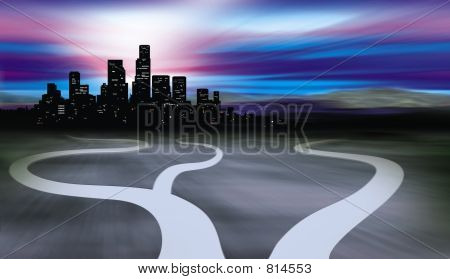 Paths Leading To City And Desert