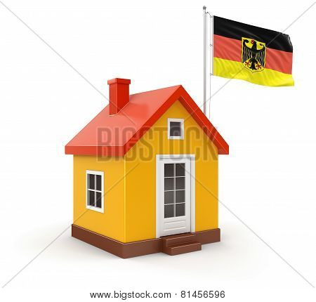 House and German Flag (clipping path included)