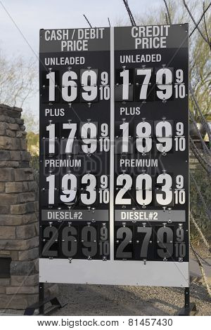 Gas petrol prices continue to drop in Scottsdale, Arizona,USA -  Jan,2015