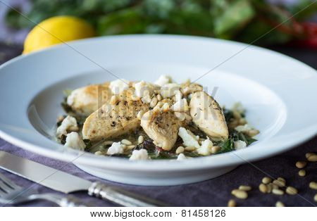 Lemon Chicken With Sauteed Chard And Pine Nuts